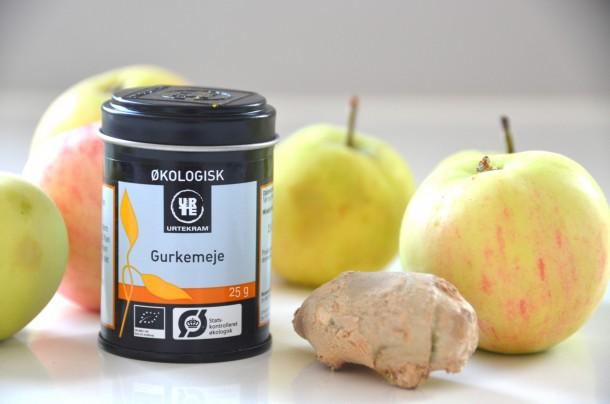 Äppel och ingefärsjuice gurkmeja